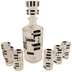 Art Deco Czech Decanter and Glasses