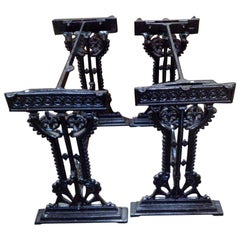 Near Pair of Gothic Revival Cast Iron Garden Tables by Hufton, Birmingham