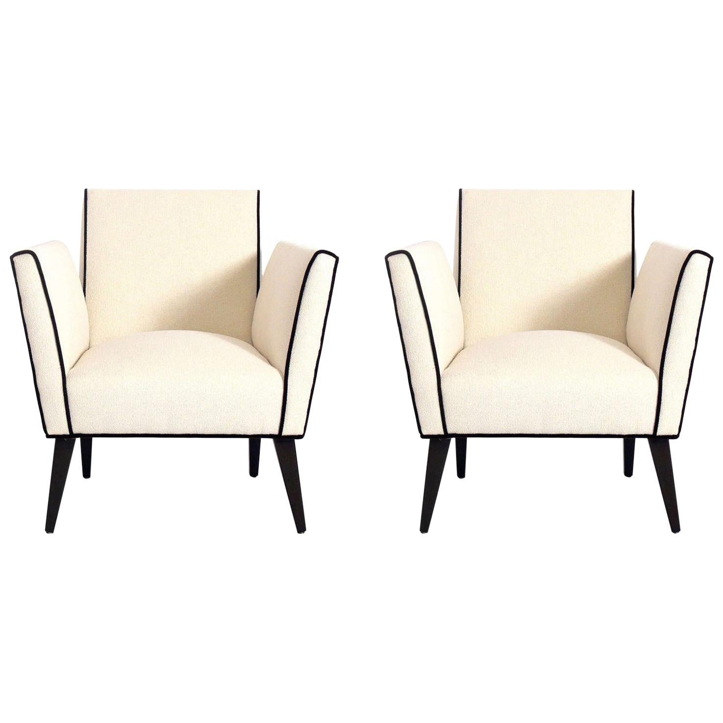 Pair of Clean Lined French Lounge Chairs