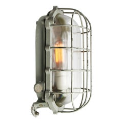 Gray Vintage Industrial Cast Aluminum Clear Glass Wall Ceiling Lamp Scones