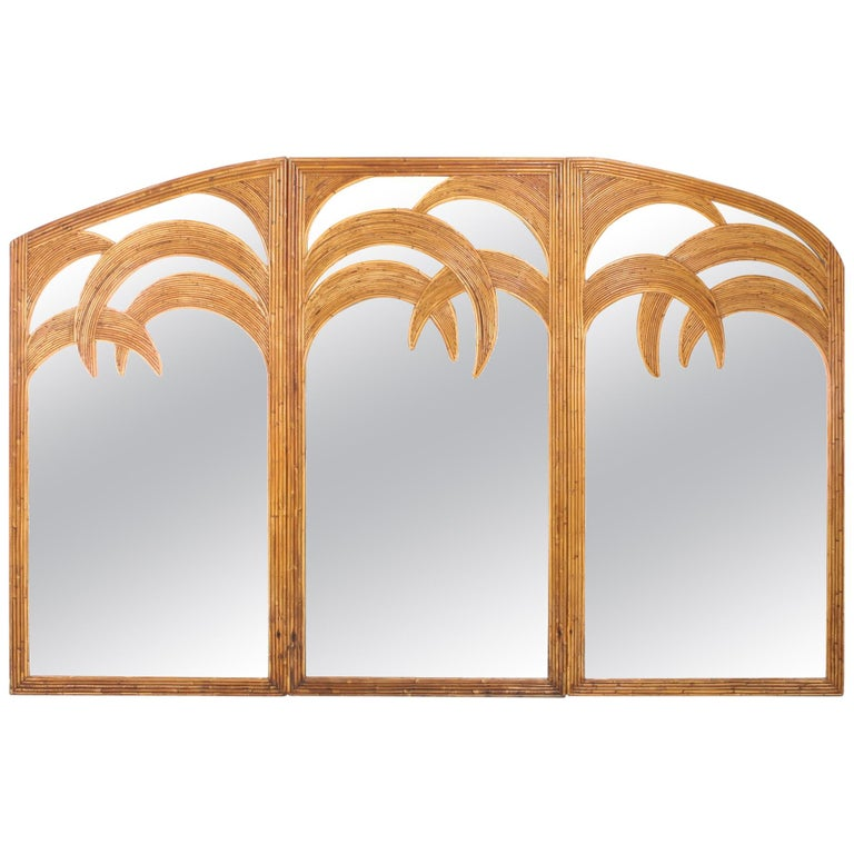 Vivai del Sud Triptych Floor Mirror in Bamboo For Sale