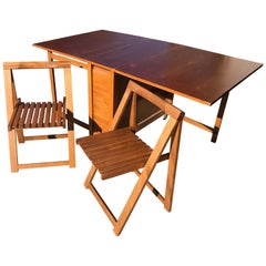 Hungarian Lingel Style Drop-Leaf Dining Table with Chairs, circa 1960s