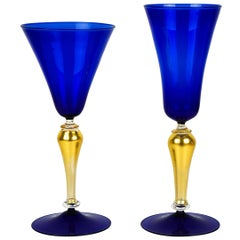 Mid-Century Modern Blue and Gold Set of Two Venetian Murano Glass Goblets, 1992s