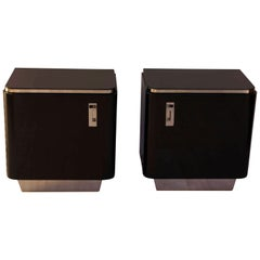 Bauhaus Nightstands, Black Lacquer, Germany, circa 1930