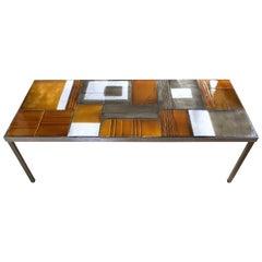 Roger Capron, Glazed Lava Tile Coffee Table