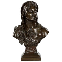 "Etienne Henri Dumaige 'French, 1830-88' Antique Bronze Sculpture Bust ""Daphnis"""