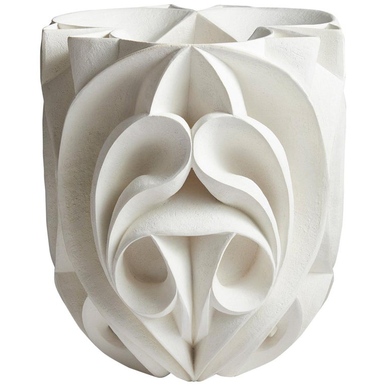 Contemporary Hand Carved Ceramic Sculpture by Halima Cassell For Sale