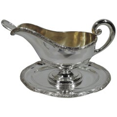 Antique Austrian Neoclassical Silver Gravy Boat on Stand with Ladle