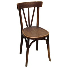 1980s French Dark Tone Wooden Bistro Chair