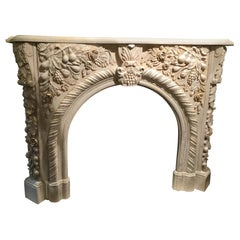 Marble Mantel in Pale Gold, Hand Carved with Fruit Flowers and Foliate Design