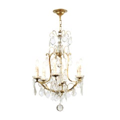 French 1890s Six-Light Crystal Chandelier with Gilt Metal Armature and Obelisk