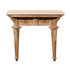 French 18th Century Louis XVI Console Table with Hand Carved, Parcel-Gilt Décor