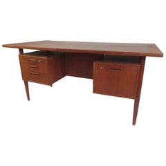 Danish Modern Twin Pedestal Writing Desk by H.P. Hansen