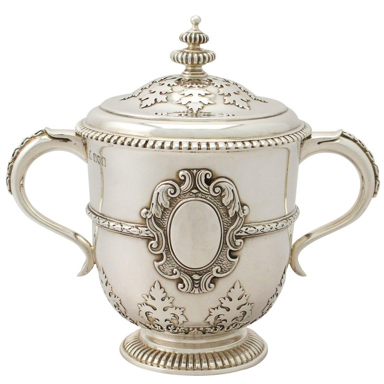 Antique Edwardian Sterling Silver Cup and Cover For Sale