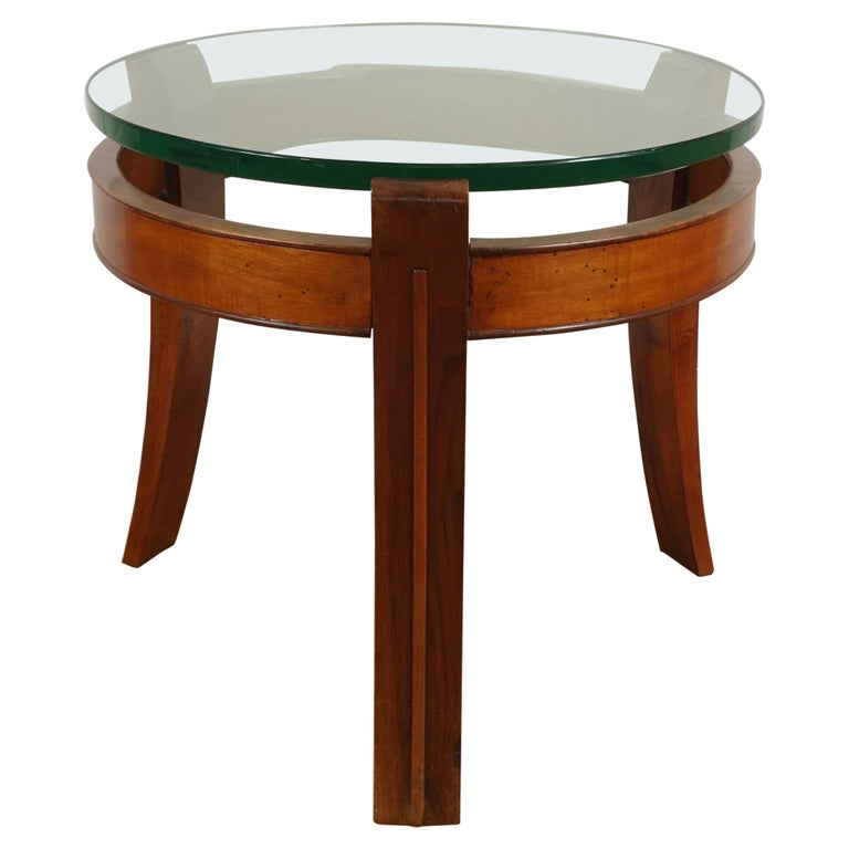 Mahogany and Glass Occasional Table by Fontana Arte For Sale