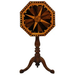 19th Century English Geometric Marquetry Side Table