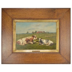 Louis Robbe Painting Resting Cows Oil on Canvas, 19th Century