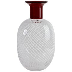 Barbini Style Red Incalmo Murano Glass Vase with White Striped Inclusions, Italy