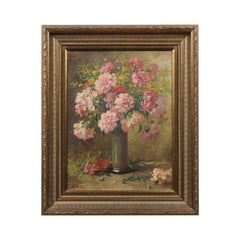 French 19th Century Framed Oil on Canvas Still-Life Painting with Pink Bouquet