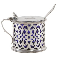 Late 19th Century English Silver Plate Mustard Pot with Lid Spoon, Glass Insert