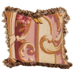 French 19th Century Aubusson Tapestry Pillow with Tassels and Floral Décor
