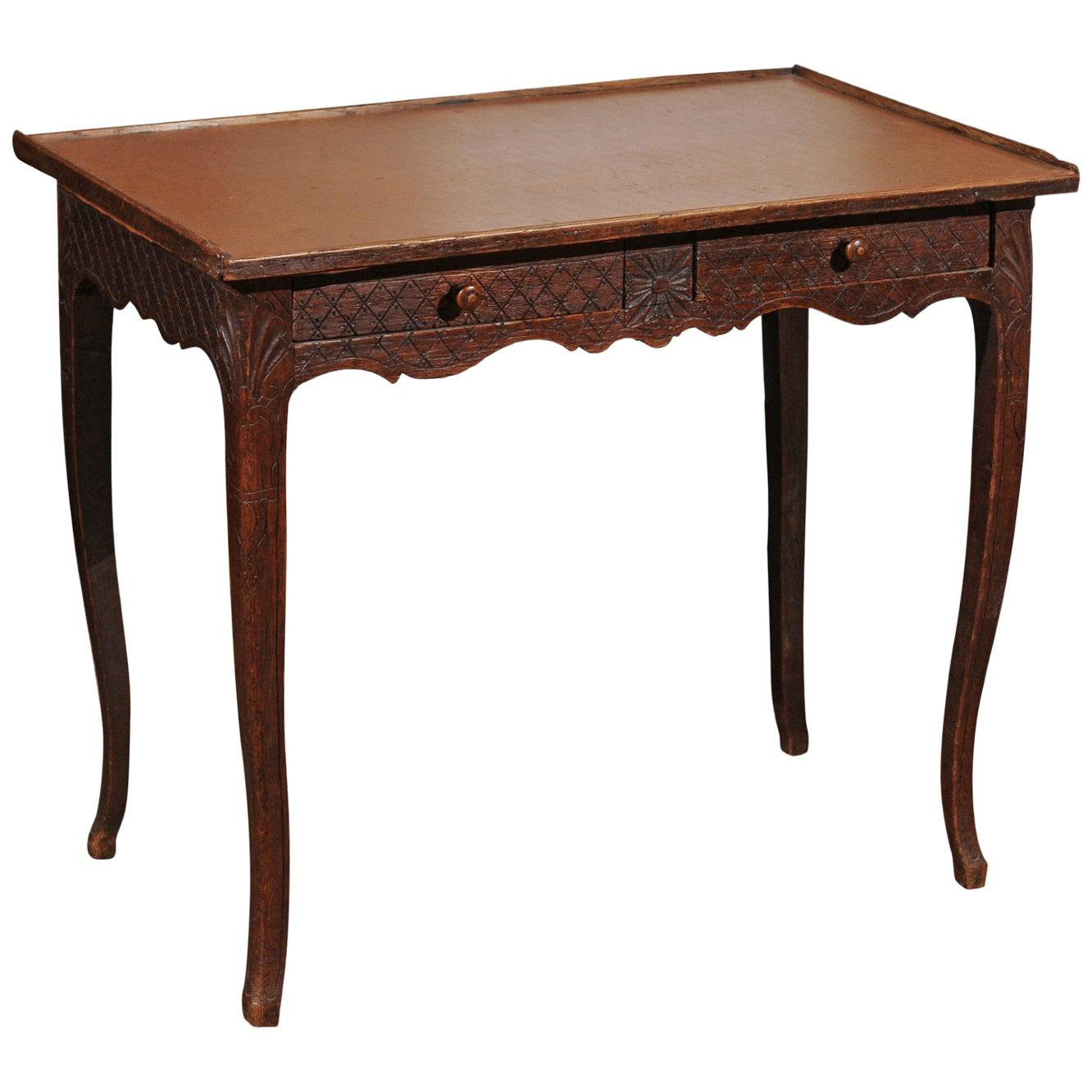 French Restauration Period Early 19th Century Oak Side Table with Diamond Motifs