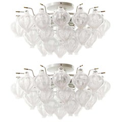 Pair Kalmar 'Tulipan' Glass Flush Mount Lights Chandeliers, 1970