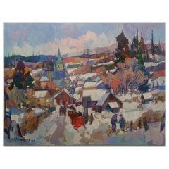'L'Entre Du Village' Oil on Canvas Contemporary Painting Bedros Aslanian