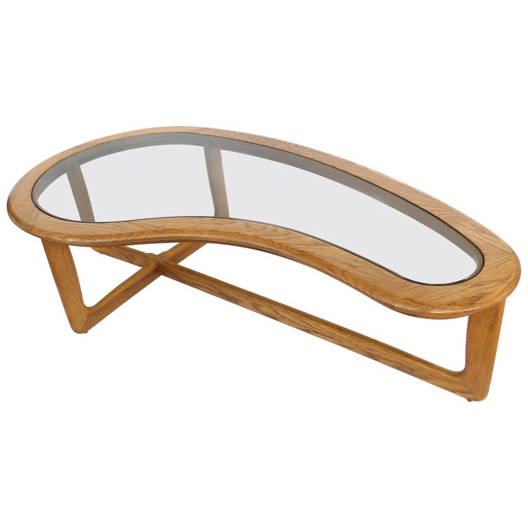 Mid-Century Modern Lane Kidney Shaped Boomerang Walnut and Glass Coffee Table For Sale