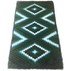 Original Scandinavian Square Pattern Rya Rug by Ege Taepper, 1960s, Denmark