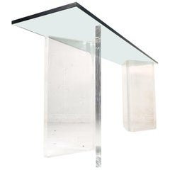 Stylish Midcentury Lucite and Glass Console Table