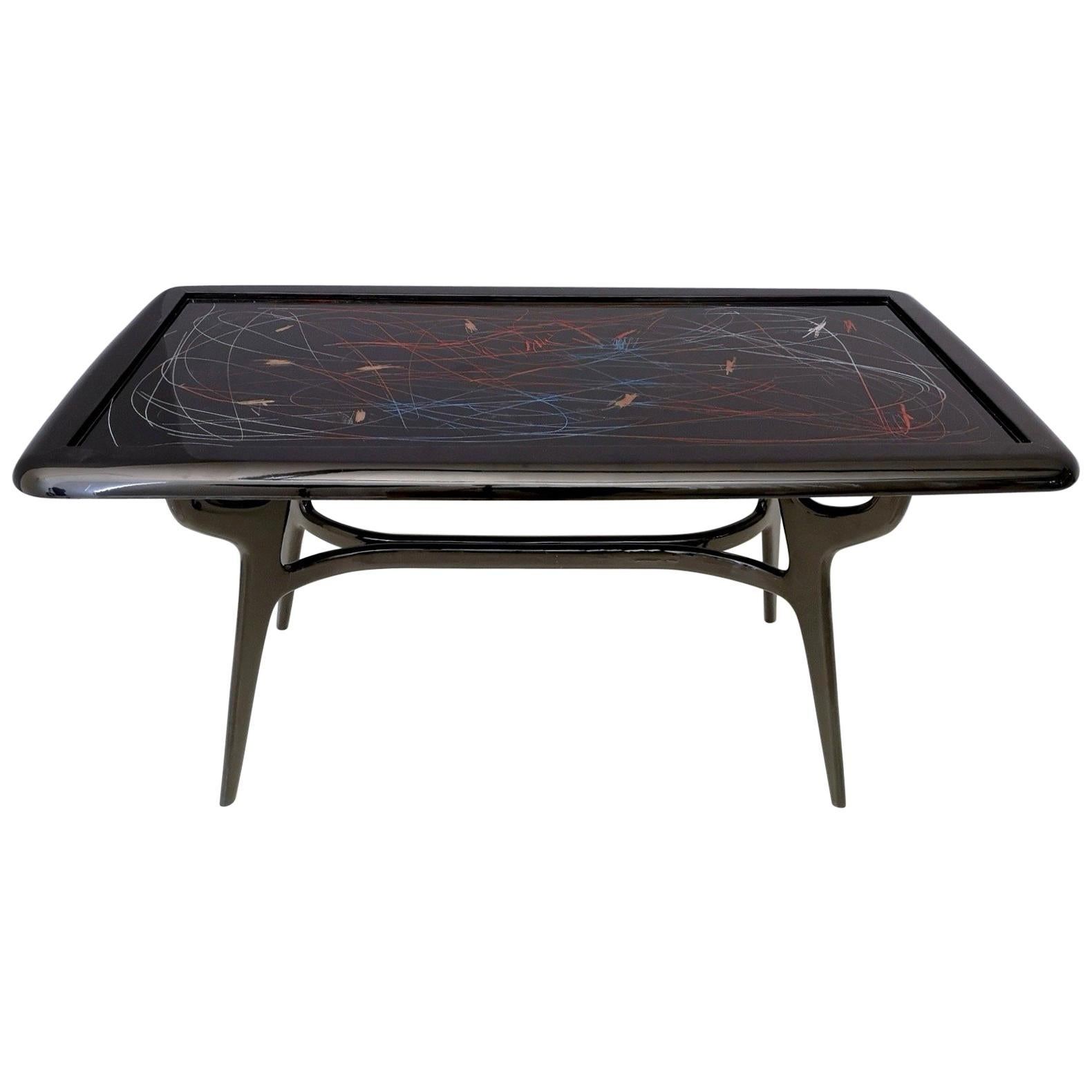 1950s Style Dining Table with Glass Top Lacquered by Enzio Wenk, Italy, 2019