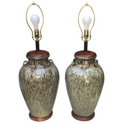 Hand Painted Ceramic Table Lamps / a pair