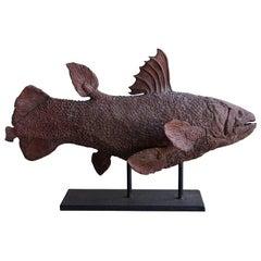 20th Century Terra Cotta Clay Fish Statuette