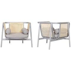 100% Handmade Rattan Lounge Chair in Light Grey Finish, Set of 2