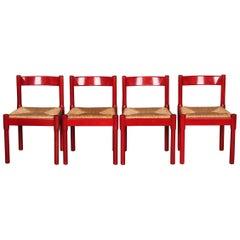 Cassina Carimate 4 Chairs by Vico Magistretti