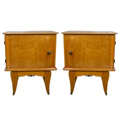 Pair of French 1940s Bird's-Eye Maple Nightstands