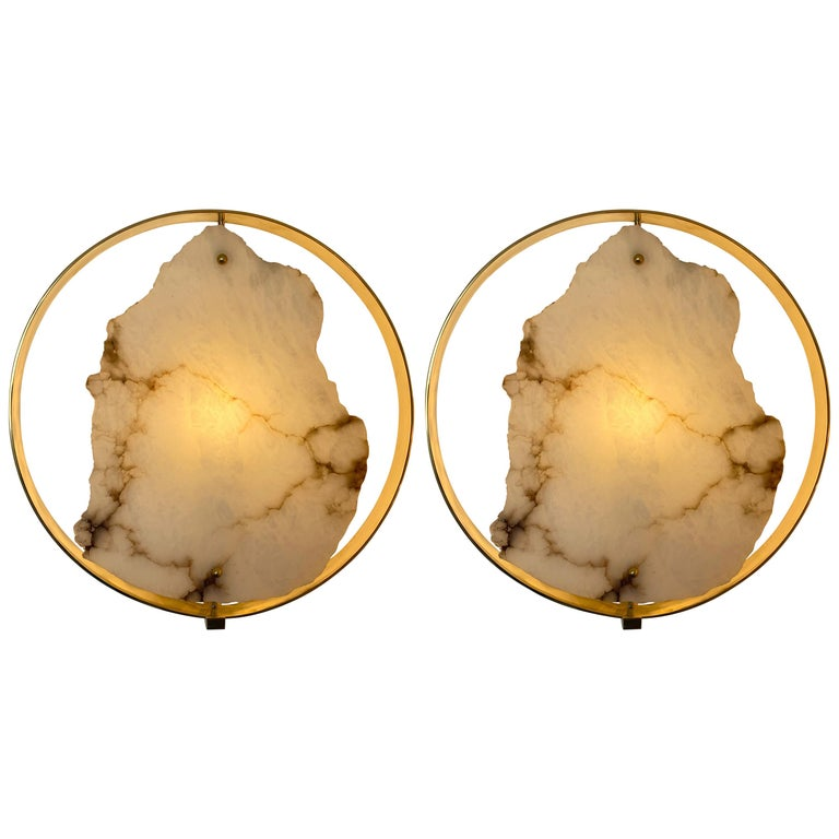 Contemporary Pair of Alabaster Circle Brass Sconces, Italy For Sale