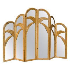 Pair of Three Panel Rattan Mirrored Screens