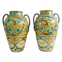 Italian Hand Painted Amphora Oil Jars