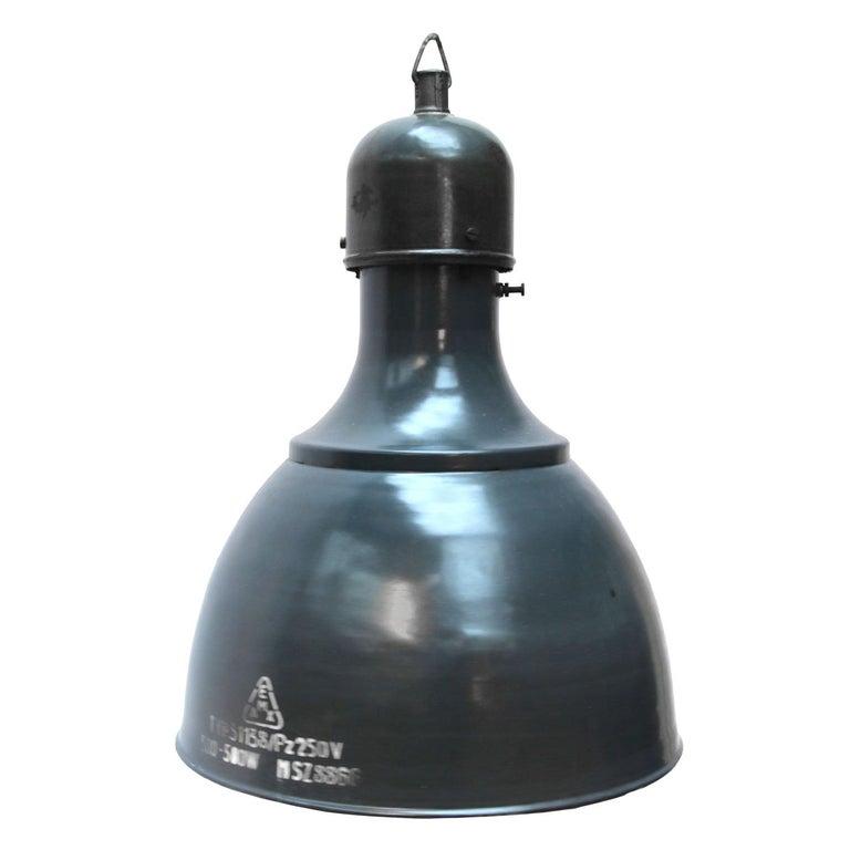 Blue Enamel Vintage Industrial Pendants Hanging Lamps For Sale