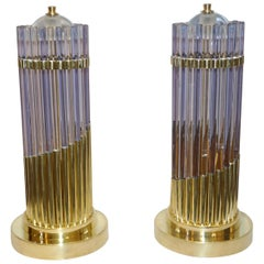 Vintage 1980s Italian Pair of Brass & Alexandrite Purple Blue Murano Glass Lamps