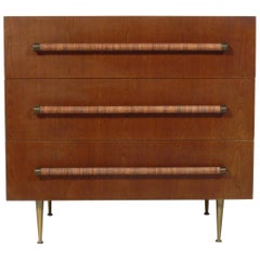 Elegant Modern Chest with Reed Wrapped Handles by T.H. Robsjohn-Gibbings