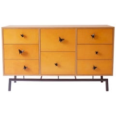 Yellow Finn Ply Cabinet with Bronze Base and Bronze Butterfly Pulls