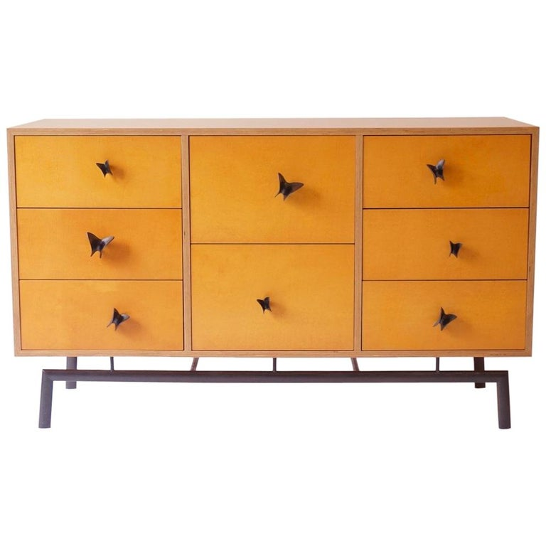 Chris Lehrecke plywood cabinet with bronze base and bronze butterfly pulls, new