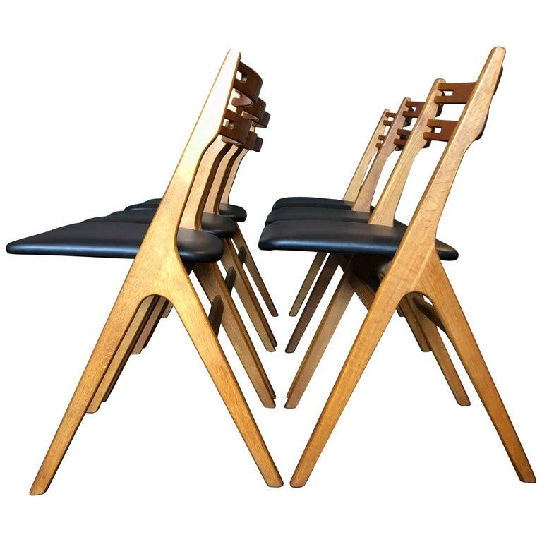 Arne Vodder Oak Dining Chairs, Sibast, Set of 6 For Sale