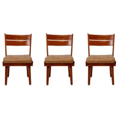 Midcentury Chairs in Walnut and Leather, Austria, 1950s