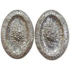 Pair of 19th Century French Repousse Silver Oval Wall Plaques