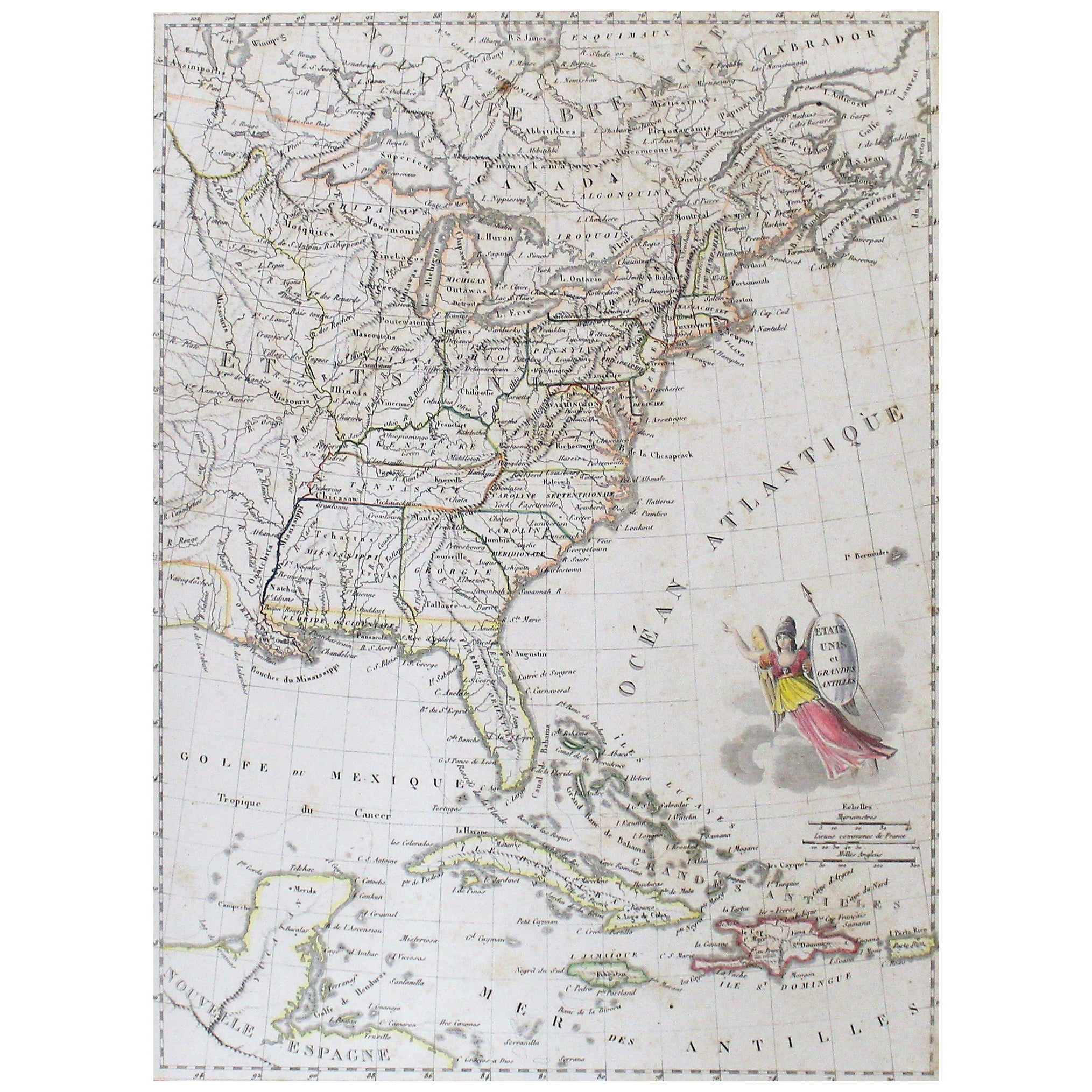 Early 19th Century Hand Colored Map of the United States and Caribbean Islands