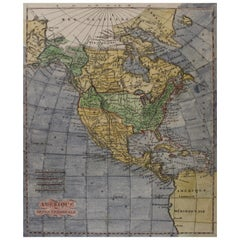 Early 19th Century Hand Coloured Map of North America by Aaron Arrowsmith